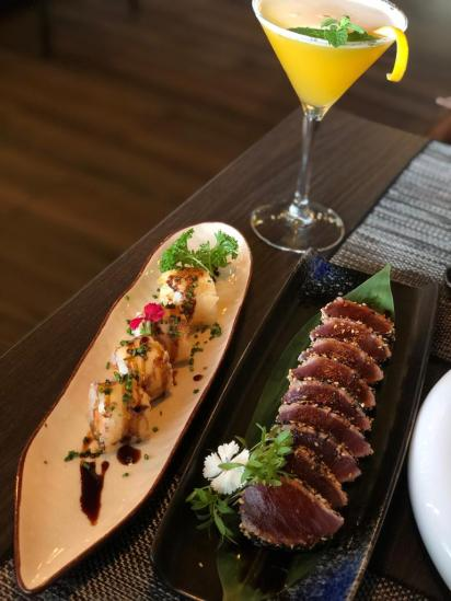 Hot Roll e Tataki de Atum